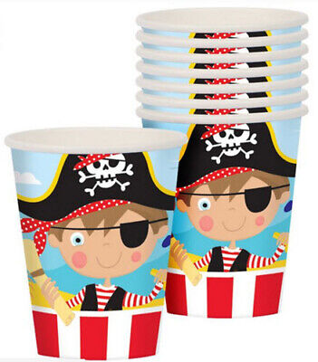 LITTLE PIRATE Happy Birthday Party supplies hot/cold PAPER CUPS 8pcs - Pirate Birthday Party Supplies