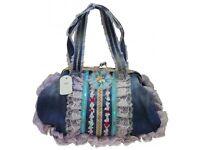 Handbag ladies blue denim floral design only £14.99