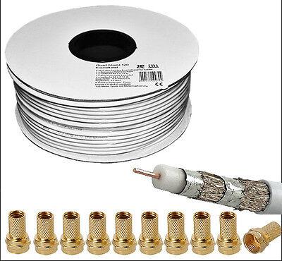100 Meter Koaxialkabel 120 dB Sat HDTV Kabel 100m 120dB mit F-Stecker Gold 7mm Gold Hdtv-kabel