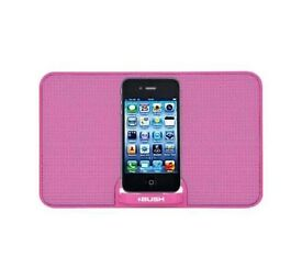 Bush Portable Speaker Dock - Pink with accompanying 3.5mm Audio Cable