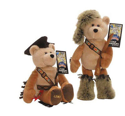 """Pair Plush Collectible Stuffed Bears Limited Treasures 9 1/2"""" - Lewis & Clark"""