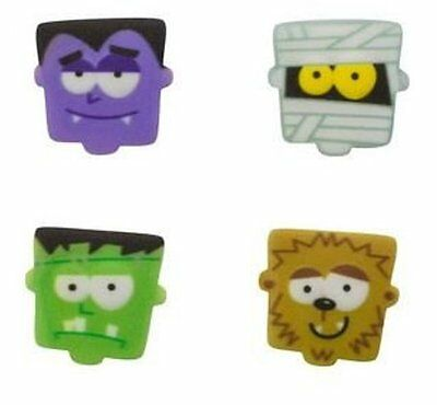 Halloween - Monster Faces Edible Sugar Decorations - Set of 12