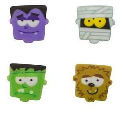 Halloween - Monster Faces Edible Sugar Decorations - Set of 12  - Edible Halloween Decorations