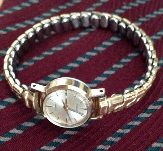 Timex Ladies 17 jewel watch with vintage 50's band glen usa as is