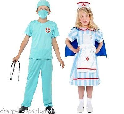 Jungen Mädchen Kinder Arzt Pflegepersonal Er Uniform Verkleidung Kostüm (Kind E R Arzt Kostüme)