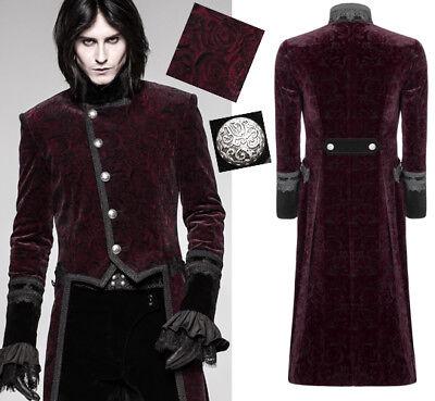 Rot Rosen Samt Jacke Mantel Gothic Dandy Victorian Baroque Anzug PunkRave Herren