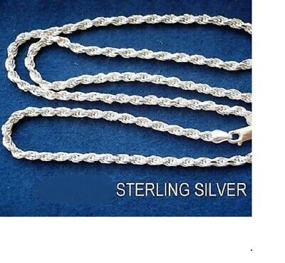 925 STERLING SILVER 4MM thick ROPE chain 22