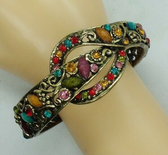 "STUNNING Rhinestone & faux precious stones Clamper Bracelet fits up to 9 ""wrist"