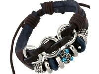 BROWN LEATHER BLACK CORD GUITAR WRISTBAND WRIST STRAP BRACELET ROPE BRAID A91 UK