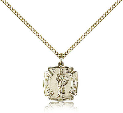 Saint Florian Medal For Women - Gold Filled Necklace On 18