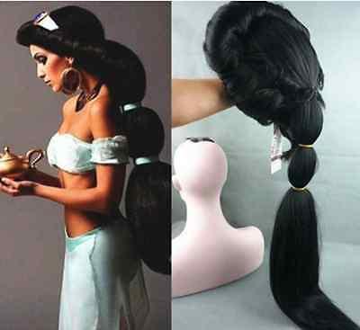 Anime Aladdin Jasmine princess Long Black Anime Wig /Cosplay/ wig](Aladdin Wig)