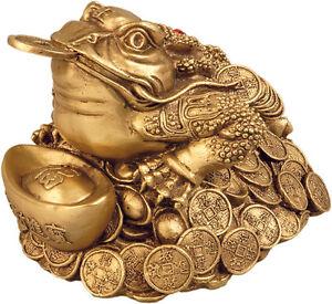 Buddha Deko Figur goldener Frosch golden Frog Buddhismus Feng Shui Budda Glück