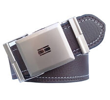 Non leather men brown belt with self textured