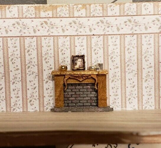 Miniature 1:144 Scale Wood and Brick ASSEMBLED Fancy DECORATED Fireplace w/PHOTO