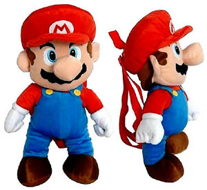 SUPER-MARIO-PLUSH-BACKPACK-RED-BLUE-SOFT-DOLL-FIGURE-BAG-NINTENDO-18-19-NEW