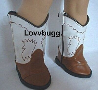 Cowboy And Girl (Lovvbugg Brown and White Cowboy Cowgirl Boots for American Girl 18