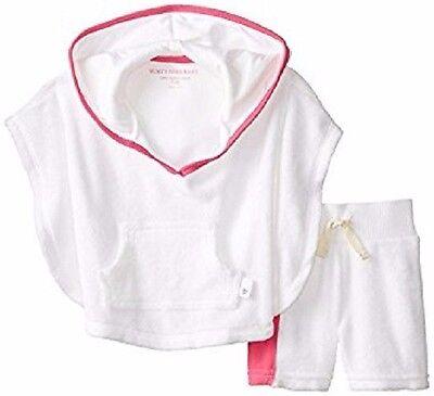 BURTS BEES BABY GIRL ORGANIC KNIT TERRY SWIM PONCHO BOARD SHORT SET (white) 3-6M