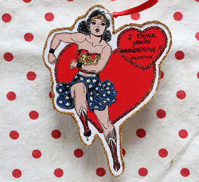 Glittered Wooden Valentine Ornament~Wonder Woman~ Vintage Image~~Free Shipping