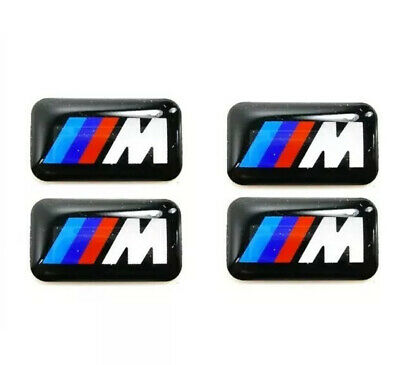 4x BMW M Sport Performance Alloy Wheel Stickers Decals Badge Gel Gloss domed 3d