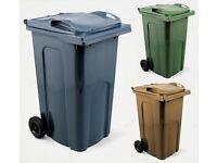 Wheelie Bin - 240L Standard Household Council Bin - Grey, Green, Brown & Blue
