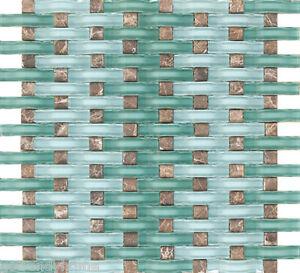 10sf ocean blue wavy glass emperador dark mosaic tile mix