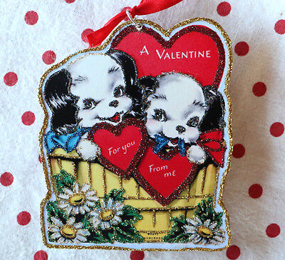 Glittered Wooden Valentine ORNAMENT~2 Dogs in Basket~Vintage Card Image