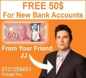 FREE 50$ For New Bank Accounts - EASY Signup EASY FREE MONEY! NO FEES! Join TODAY!