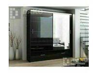 Four Optional Size/Colors==MARSYLIA 3 SLIDING DOOR WARDROBE WITH LED LIGHT & Shelves