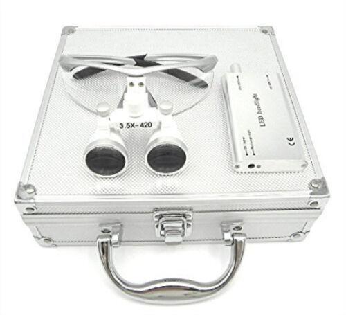 Dental 3.5X Surgical Binocular Loupes + Headlight + Silver Aluminum Box US STOCK
