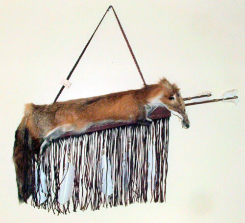 Red Fox pelt on Fringed Leather Quiver & 2 Arrows Authentic Native American #05