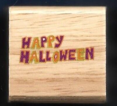 HAPPY HALLOWEEN words HOLIDAY GIFT Tag Wood mount Craft SMALL RUBBER STAMP ](Small Halloween Gift Tags)