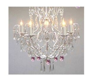 Brand New White Wrought Iron Crystal Chandelier