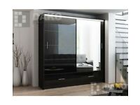 🔴LOWEST PRICE 🔵-MARSYLIA WARDROBE IN BLACK WHITE AND GREY COLOR OPTIONS WITH LOT OF HANGING SPACE