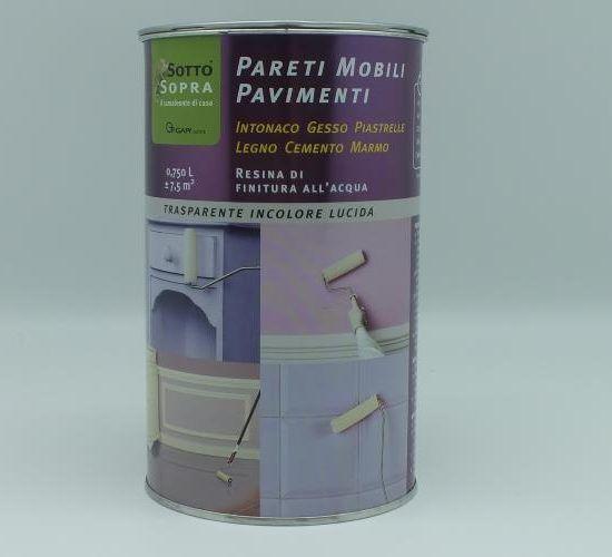 RESINA PARETI/MOBILI/PAVIMENTI Lt 0,75 SottoSopra TRASPARENTE LUCIDA