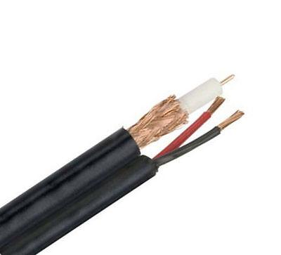 RG59 Siamese Coax Cable 18/2 Bare Copper Power Wire CCTV Camera - Black - (Siamese Coax Cable)