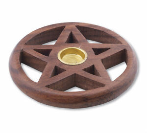 ★ PENTAGRAM WOODEN INCENSE CONE BURNER HOLDER ★ PROTECTION SMUDGING Pagan Wicca