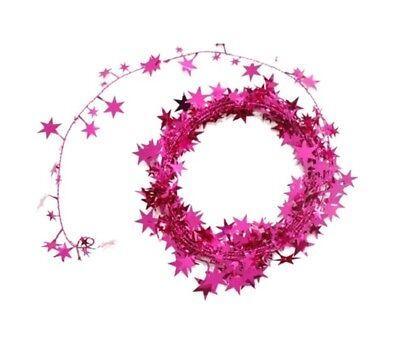 Pink Foil Star Garland 25 Feet Christmas Tree Decoration Wreaths Parties BII