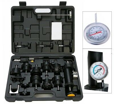 18pc Auto Cooling System Radiator Cap Pressure Tester Kit Pump Gauge Adapter NEW ()