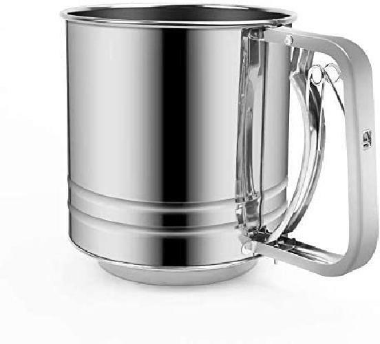 Baking Sifter Stainless Steel w/ Handle Hand Held Large Capacity Flour Sieve Cup