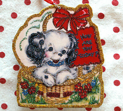 Glittered Wooden  Christmas ORNAMENT~ Puppy in Basket ~ Dog~Vintage Card Image