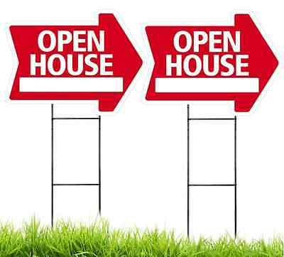Large18x24 Open House - Red - Arrow Shaped Sign Kit With Stands - 2 Pack