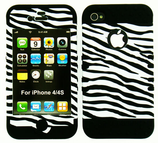 Hybrid Impact Silicone Hard Cover + Apple iPhone 4 4S Black White Zebra on Black