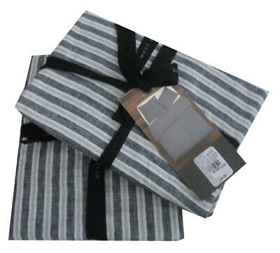 West Elm Striped Belgian Linen King Shams - midnight set of 2