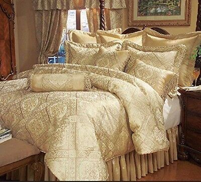 Luxury Gold Jacquard 9 pcs Comforter Cal King  /King /Queen Bedroom Set Gold King Comforter