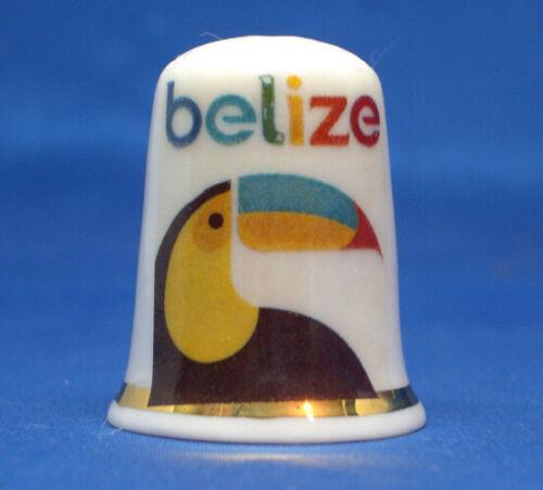 Birchcroft China Thimble - Travel Poster Series - Belize - Free Dome Box