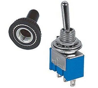1 Pc - Spdt On-on Mini Toggle Switch 6amps - 125v Rubber Cover Mtg266-5000