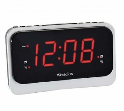 Westclox Silver Digital FM Clock Radio with Dual Alarm Nature Sounds USB Port