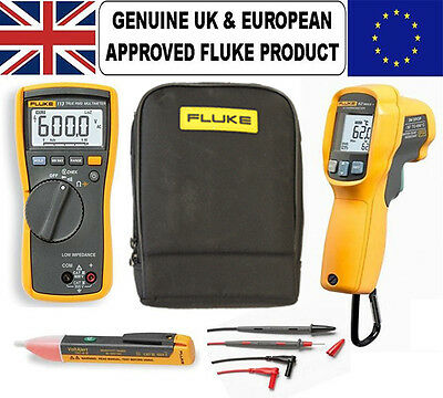 Fluke 113 Multimeter Kit74 62 Max Ir Thermal Reader Plus Voltstick Case
