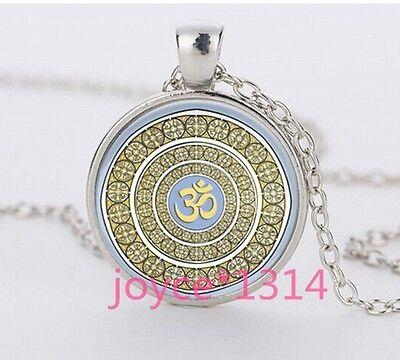 Om Pendant   Om Symbol Necklace   Namaste Yoga Jewelry  Tibetan Silver  1228