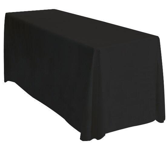 90x132 Tablecloth Table Cover Throw Wedding Banquet Rectangle Polyester - BLACK